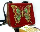 Unique, Vinyl  red messenger bag, handpainted, BUTTERFLY