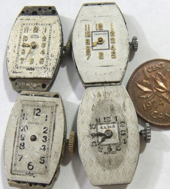 4 Vintage RECTANGLE Watch Movements. GOTHIC, ELBA, OLYMPIC, FONTAIN  (A6-4)