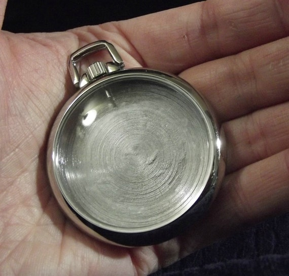 3 Vintage-Looking Empty Pocket Watch Case.  Complete-Sides, Back, Bow, AND Unbroken Clear Lens