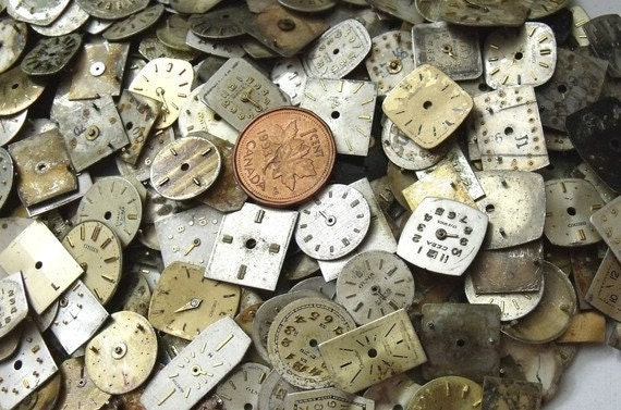 WHOLESALE LOT.  50 Assorted SMALL & Extra Small Vintage Watch Dials. (a40-50)