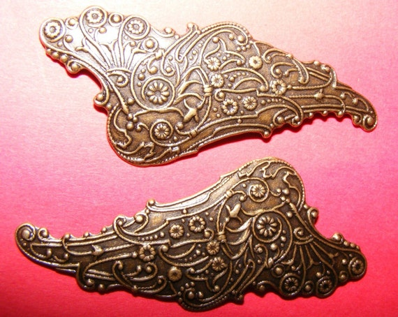 Two Beautiful Profile Angel Wings in Aged Golden Color (PB1) FREE DESIGN SAMPLES