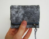 Storm Leather Forester card wallet, small gray wallet with cloudy constellation print