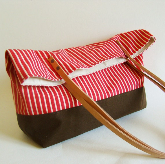 FINAL SALE 50% off // Red Stripe Tote Bag with natural leather straps