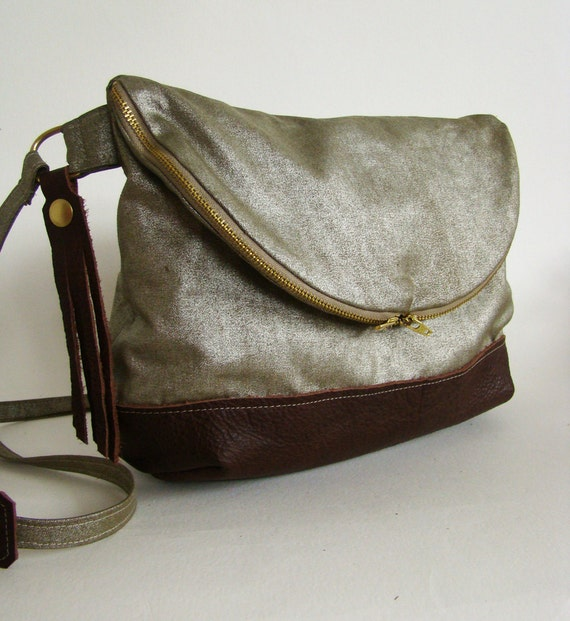 Foldover Day Traveler Bag in silvery bronze and russet leather, ready to ship