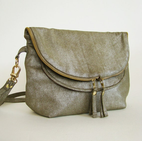 shipping RESERVED Mini Foldover Day Traveler Bag in bronze, small convertible cross body or shoulder bag in metallic twill