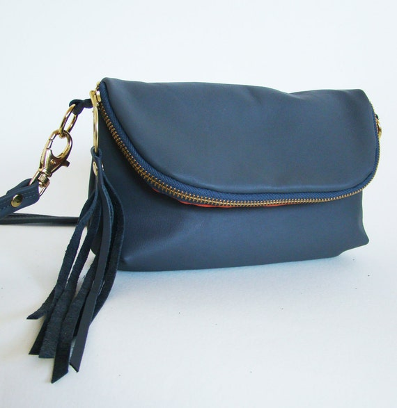 SALE // Graphite Leather 3-in-1 Bag, cross body, clutch, or large wallet with bright coral lining, ready to ship
