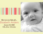 Mod Lines in Pink and Yellow - Customized Birth Announcement Design