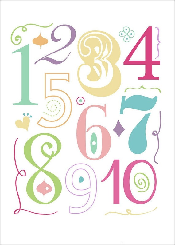 alphabet and numbers in pink - 2 print set