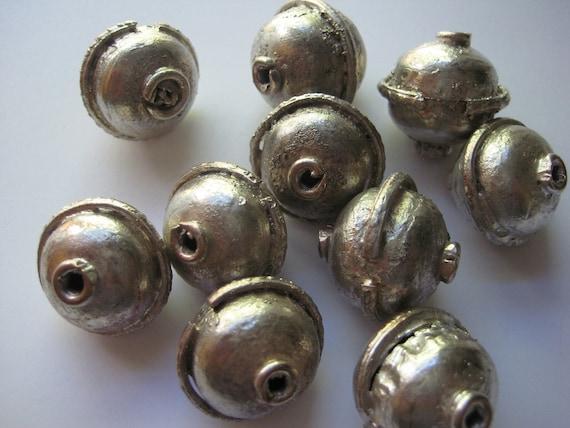 SALE 10 LARGE Ethiopian metal spacer beads
