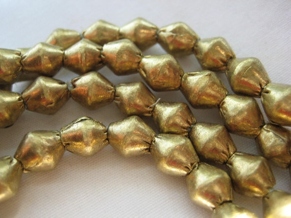 30 inches long Ethiopian brass bi-cone metal spacer beads