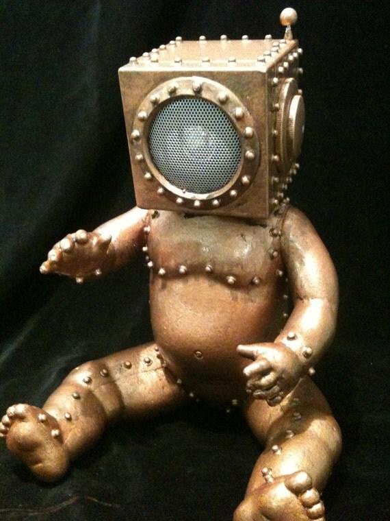 BabyBot  Radio Head  Steampunk Oddity Sculpture Copper Statue