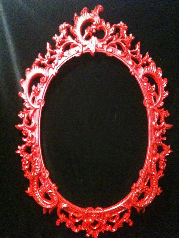 Gloss Red Oval Picture Frame Mirror Shabby Chic Baroque