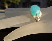 SALE - Yes, it's a Hemi - Stunning blue-green Hemimorphite ring with creamy white coral on a sterling silver wire band