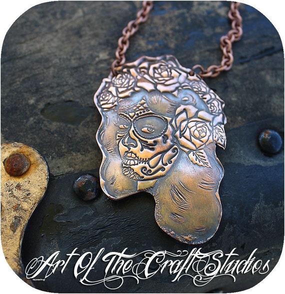 Large Copper Señora Muertas Necklace Pinup Bombshell style Dia De Los Muertos Pinup