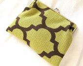 Clutch Purse Handmade in Green and Brown Fabric