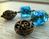 Gypsy Blue Dichroic Glass and Brass Dangle Earrings