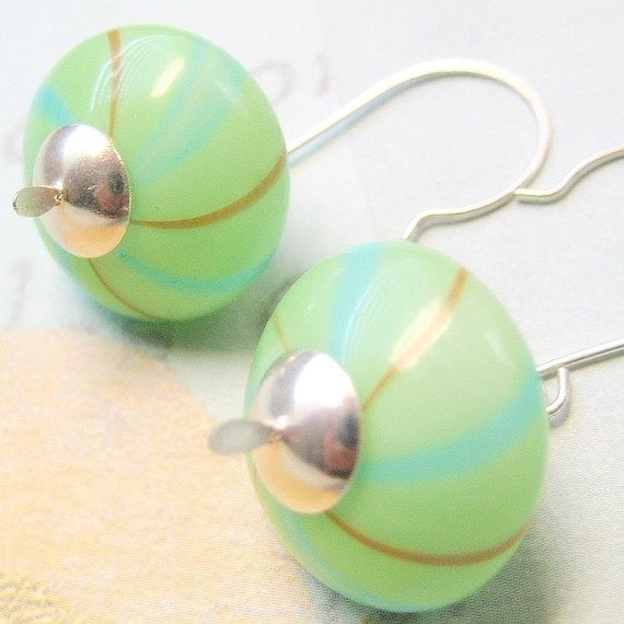 Millennium  Hand Blown Glass and Silver Earrings