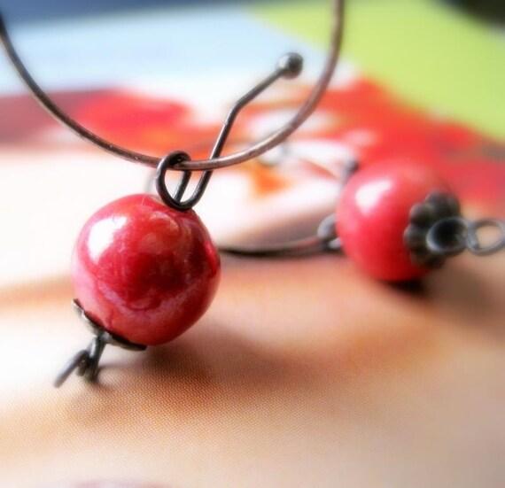 Cherry Bombs Porcelain Bead Earrings