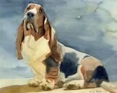 Basset Hound Art Print of my watercolor painting  Basset Hound Dog
