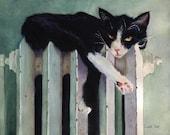 Tuxedo Cat art Print of my original watercolor Toasty Tuxedo Black White Unique Gift Girl Women Portrait Large Huge Big