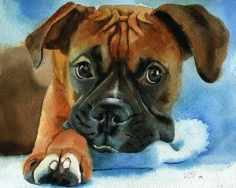 Boxer dog art Print of my watercolor painting Boxer Baby