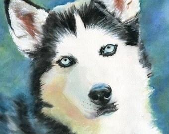 Siberian Husky Dog Art Print of my watercolor painting