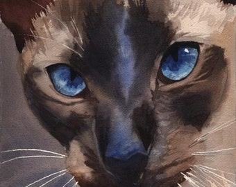Siamese cat art Seal Chocolate Point Print of my watercolor painting Huge Large Big Custom Hand Painted