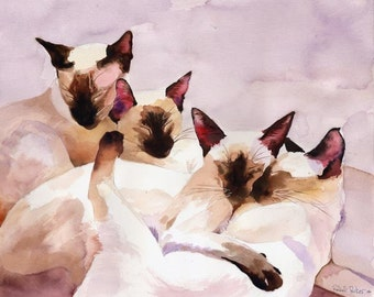 Digital Print Siamese Cat Art from Watercolor Painting Seal Point Chocolate Cat Lover unique  gift custom large huge big hand painted