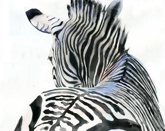Zebra Art Print of Watercolor Painting Safari Africa