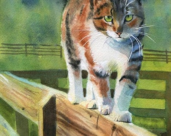 PRINT Tortoise Shell Calico Tabby Cat art painting fence