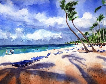Beach Art Watercolor Print of a Caribbean Painting Wedding Honeymoon Gift