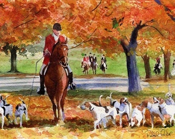 Foxhunt horse art Print of my watercolor painting    Fall Hunt