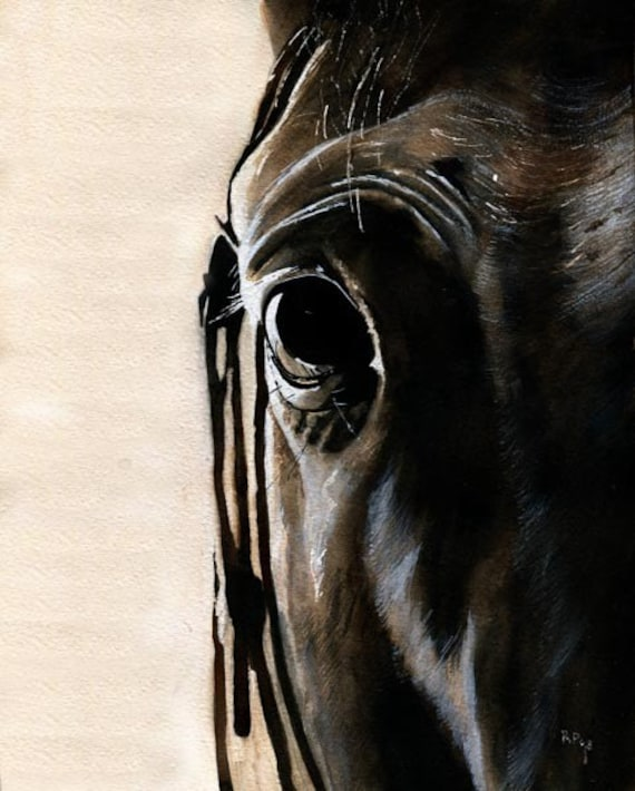 Thoroughbred Art Horse Equestrian Print of my watercolor painting    Devon's Portrait Cyber Monday!