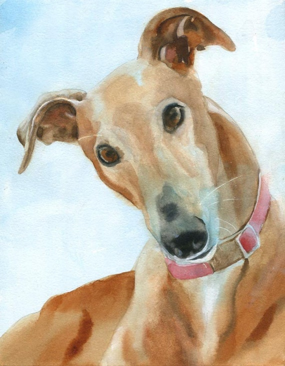 Greyhound dog art print of my watercolor painting unique dog for Dog painting artist