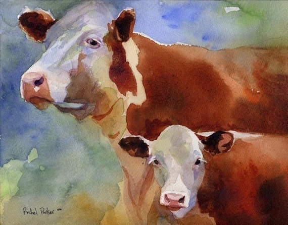 Hereford cow art Print of my watercolor painting farm realistic colorful huge big large brown custom hand painted handmade