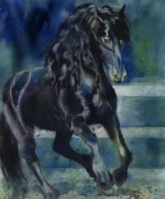 Friesian black horse art print from Watercolor Painting