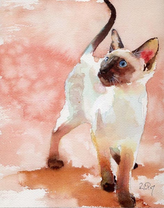 Siamese Cat Art Print of my  Watercolor Painting