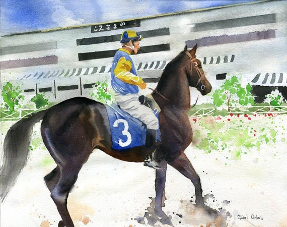 Horse Art PRINT Watercolor Painting Racehorse  Equine Equestrian