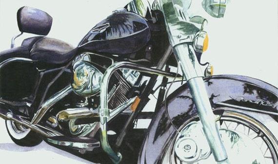 Original watercolor painting Road King Harley Davidson Motorcycle