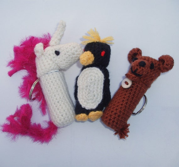 Macaroni Penguin, Bear, Unicorn Lip Balm Cozy and Finger Puppet crochet pattern