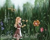 Alice's Adventures In Wonderland - Alice in the Garden of Live Flowers - original painting