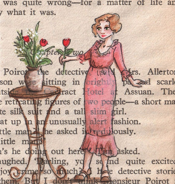 Original ACEO painting on vintage book page - England 1934 - The Finishing Touch