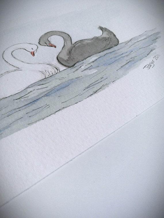 Swan Love - Original Watercolour Painting