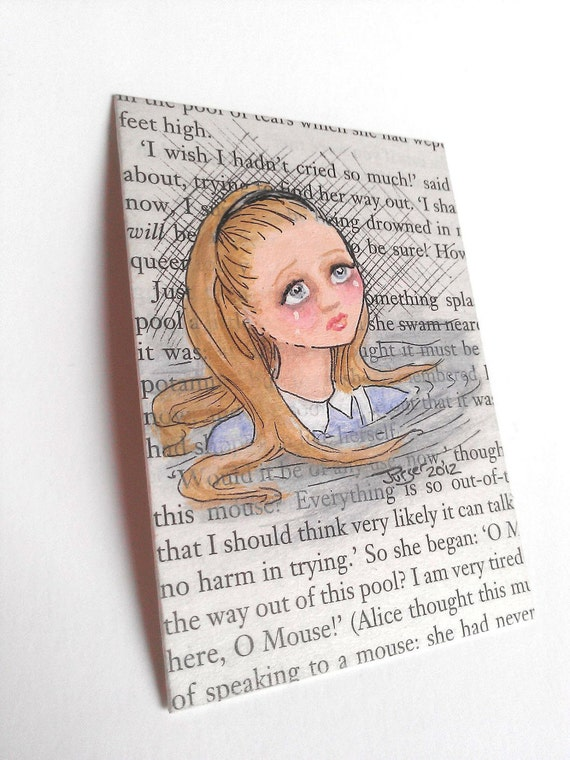 Wonderland ACEO painting on book page - The Pool Of Tears
