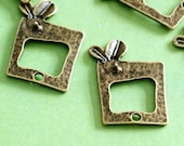 Clearance 20pcs Antique Bronze Bud In Rectangle Pendants EA10967Y-AB