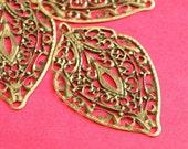 Wholesale 50pcs 56mm Antique Bronze Filigree Leaf Pendants