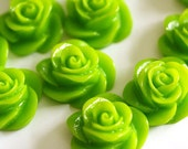 Clearance 30pcs Green Rose Flower Cabochons 13mm RBA439-5