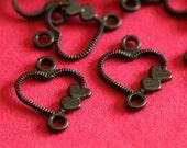 Sale Lead Free 48pcs Gunmetal Double Heart Connecters A100401-B-LF
