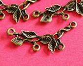 Lead free 10pcs Antique Bronze Branch Twig with Leaf Connector Pendants