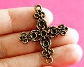 Sale Lead free 6pcs Antique Bronze Cross Connector Pendants 12685-AB-FF